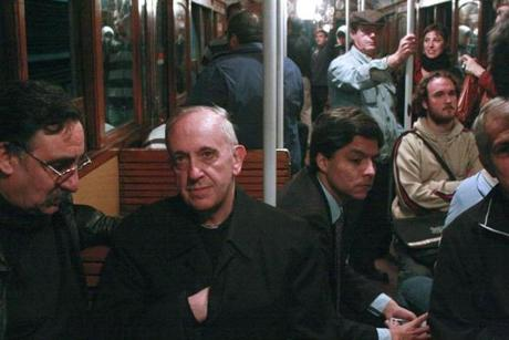 In this 2008 photo, Cardinal Jorge Mario Bergoglio rode the subway in Buenos Aires.